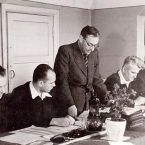 Первая Государственная комиссия за работой. На снимке слева направо: Шевцов А.И., Черкасов П.С., Фрумкин И.Ф., Брунько С.Т., Попов Т.Ф,
